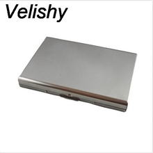 Velishy 1PC New High quality Women Men Mini Wallet Pocket Case Box Money Bags Silver  Stainless Steel Men ID Credit Card Holder