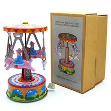 New Arrivals Kids Toy Wind Up Carousel Metal Tin Toys Collectible Classic Birthday Gift Wind Up Toys for Children Adults Boys(China)