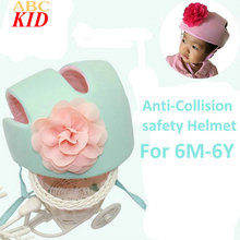 Hot Sale Baby Girl Flower Protective Anti-bump Hat Kids Caps Green Pink Soft Helmet Children Safety Hats BAC011
