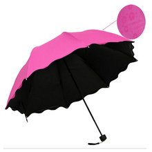 Women Folding Umbrella Encountering Water Appear Flowers Umbrella Windproof Compact hand Open Close Candy Color Umbrellas(China)