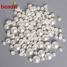 Flat Back Dia 1.5-14mm Imitation ABS Pearl Beads White Ivory Mixed Color Cabochon Half Round Scrapbook Decoration DIY Jewelry