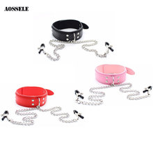 Buy Leather Collar Metal Nipple Clamps Harnesses Set Fetish BDSM Bondage Restraints Adult Sex Toys Couples/Women/Men/Gay Erotic