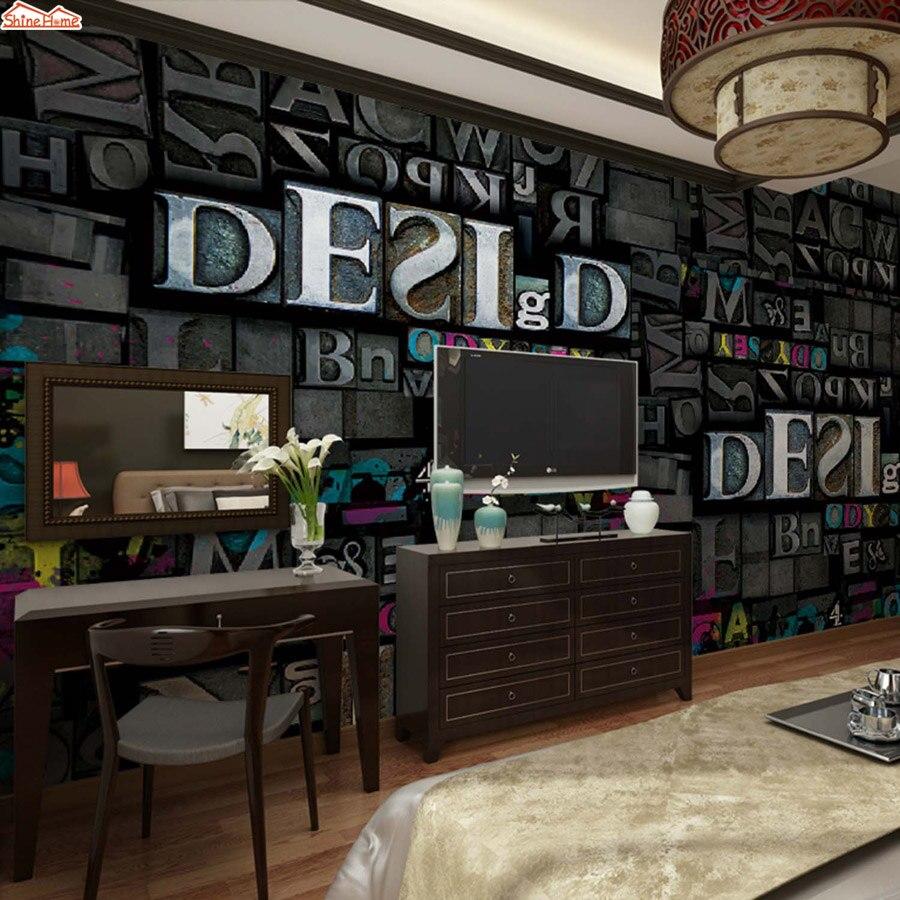 ShineHome-Black White Metallic Vintage Letter Room Background Wallpaper Mural Roll 3 d for Livingroom 3d Home Wall Paper Rolls<br>