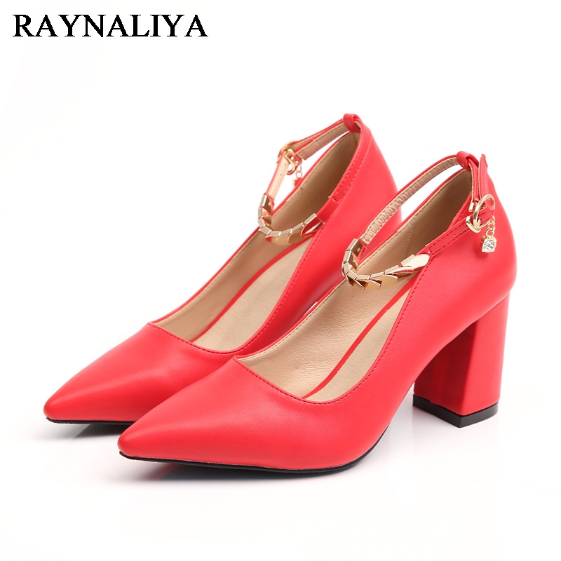 Pointed Toe Shallow High Heels Pumps Elegant Square heel Single Shoes Women Brand Pumps Metal Decoration Ladies Pumps BLY-A0055<br>