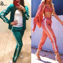 Deporte Satin Silky Kitten Summer Baseball Bomber Zipper Jacket Tracksuits Pants Stripe 2 Piece Ladies Thin Silk Short Suit Sets(China)