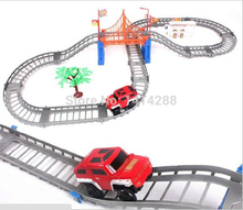 New Mini Electric Truck Railcar DIY Slot +Truck Toy Baby Education Children Kids Vehicles Toys Sets for Christmas Birthday Gifts