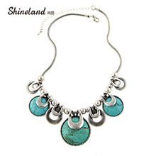 Choker Necklace For Women 2017 New Fashion Ethnic Vintage Accessories Natural Stones Chunky Chains Statement Necklace Jewelry(China)