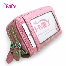 HMILY Genuine Leather Women / Men Credit Card Holder Candy Color Designer Brand Card Case Fashion change purse Coin Pocket(China)