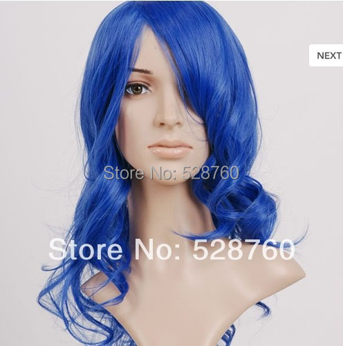 2014 New Arrival 45cm long curly cobalt blue vocaloid kaito cosplay wig Free Shipping<br><br>Aliexpress
