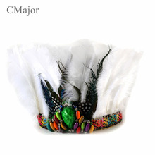 Free Shipping! Indian Style White Feather Headdress Masquerade Cosplay headband Dress Prom Dance Party Headwear hair accessories(China)