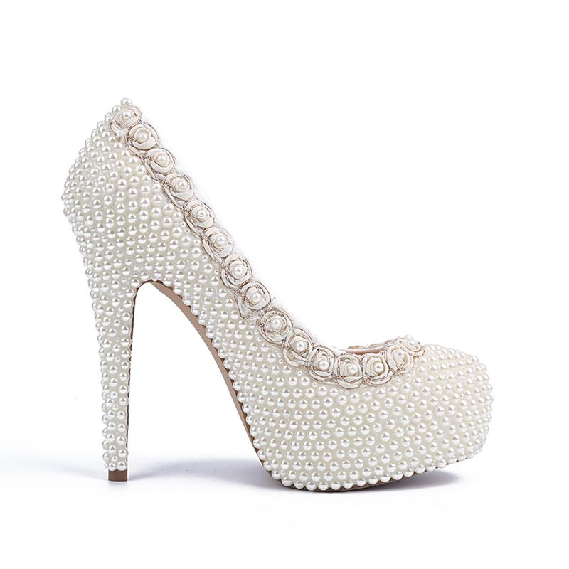 New Fashion White/Ivory Pearls Flowers Women Wedding Shoes High Heel Platform Crystal Women Pumps Party Shoes <br><br>Aliexpress