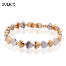 Buy GULICX 2017 Brand Fashion Heart Shaped Love Link Chain Bracelet Women Gold-color Bangle Wedding Jewelry L173 for $3.99 in AliExpress store