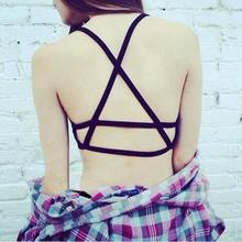 Fashion Sexy Backless Hollow Out Padded Bra Strap Crop Tops Women Cotton Vest Cut Out Summer Sleeveless Tank Tops Vest Top 2017