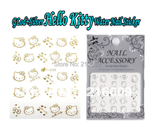 Nail Supply! 20Sets/Lot Can Mix Gold Silver Color Hello Kitty Nail Art Wrap Water Transfers Sticker Bow Decals Decoration Y036