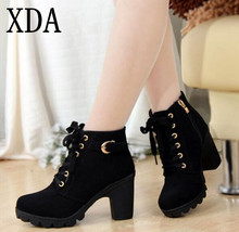 XDA 2017 New Autumn Winter Women Boots High Quality Solid Lace-up European Ladies shoes Leather Fashion Boots Free Shipping