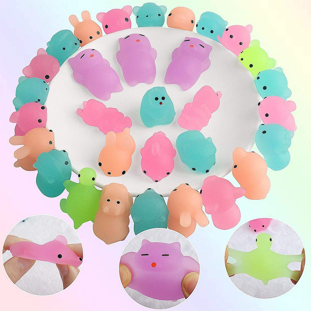 50 pcs Fluorescent Squishy Mochi Squeeze Toys 3