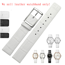 Watchband with adapter Brand Watches Fashion men lady cowhide leather strap white black watches accessories 16mm 18mm 20mm 22mm(China)