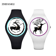 10 Colors Glowing Change LED Watch Lovers Elk Deer Head Silicone Watch Christmas Gift For Men Women Lovers WristWatch