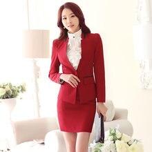 Custom falda trajes OL Slim Mujer Oficina uniforme manga larga sólido rojo  Formal 2 unidades trabajo de negocios falda trajes 71579e0d50ab