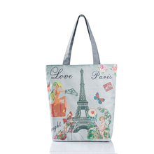 New Fashion Canvas Grocery Tote Shopping Bags Folding Shopping Cart Eco Grab Bag Reusable Bag With Paris Eiffel Tower Print(China)
