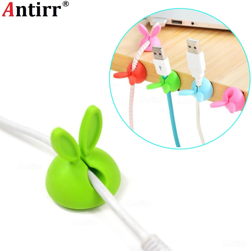 Cable Winder 4pcs Cute Rabbit Ears Cable Winder Collation Holder Bunny Charger Wire Cord Organizer Clip Tidy Desk Earphone Fixer Bobbin Clamp