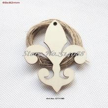 (50pcs/lot) 68mm x 82mm Rustic Wood Fleur De Lis Unfinished Natural Large Wooden Tags Art Ornaments With String-CT1180(China)