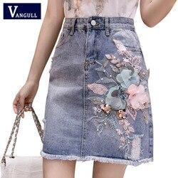 Женская джинсовая юбка с кисточками, завышенной талией и вышивкой