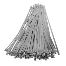 100pcs/Lot 300*4.6*0.25mm Stainless Steel Marine Grade Cable Ties Self Locking Zip Tie Wraps Exhaust Strap