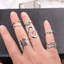European new 7 sets exaggerated ring combination Tide female stars clovers lace end ring  set auger joints