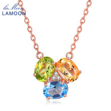 Lamoon Oval Yellow Citrine Green Peridot Blue Topaz 925 Sterling Silver Chain Pendant Necklace Rose Gold Plated S925 NI051