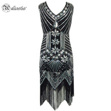 Alcestis Women Vintage 1920s Gastby Sequin Art V-Neck Embellished Fringed Flapper Dress With Colorful Beads Sexy Night Dresses(China)