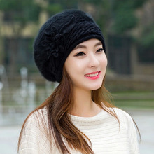 flower female rabbit fur pink cheap boinas fashion trend women winter free shipping gorras planas new design lady's beret