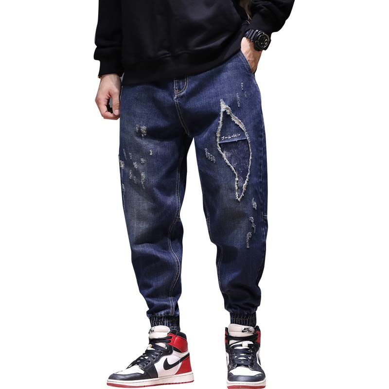 Mens Fashion Joggers Ripped Jeans Japan Style Hip Hop Harem Jeans Distressed Cowboy Denim Pants Loose Baggy Trousers Man Clothes