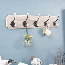 Rustic Vintage Farm Style Entryway Bathroom Decor Wooden Shelf Coat Hooks Pegs