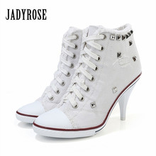 Jady Rose White Women Denim Ankle Boots Lace Up High Heels Female Rivets Studded Autumn Platform Short Booties Women Pumps(China)