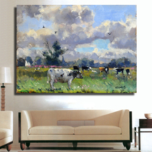 HDARTISAN Wall Printed a herd of Cows Standing on the Grass Farm Animal Oil Painting Canvas Prints Wall Art Pictures for Living(China)