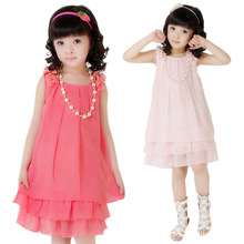 New Children Girl Chiffon Lace Lovely Kids Dress Clothes Casual Sleeveless Princess Baby Girl Childrens Dresses Clothing