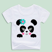 Ready Stock,Girl Panda Print T-shirt Cute Animal Cartoon Tops Tee Kid's Kawaii T shirts Baby Clothing(China)