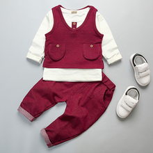 Baby Boy Clothes Children's Outfit For Boy Clothing Set 3PCS Kids Suit Solid Vest + T-shirt + Pants Autumn Infant Boys Clothes