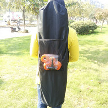 1 Pcs Length 130cm Waterproof Backpack Skateboard Longboard Shoulder  Black Oxford Cloth Carrying Bags with Drawstring