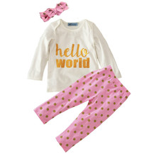 high quality !! baby girls spring sets girls fall letter hello world set children long sleeve top+dot pants+Hair band 3pcs suit(China)