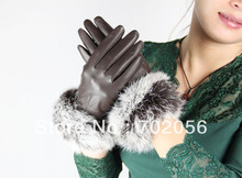 Women rabbit fur fringed Genuine leather gloves skin gloves LEATHER GLOVES mixed color SUPER QUALITY SOFT 12pairs/lot #3123