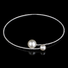 Elegant Simulated Pearl Chokers Necklace Rhinestone Beaded WeddingChoker 2016 Statement Necklaces Bridal Jewellery Accessories