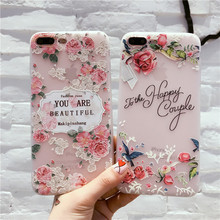 fashion rose birds flower emboss cell phone cover for apple iphone 6 6s plus iPhone7 7P 8 8P X tpu soft moblie phone Case capa(China)