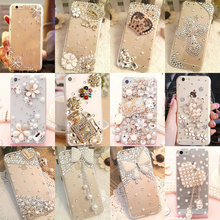 phone case Bling Diamond for iPhone 6 7 plus For Samsung Note 5 S6 S7 edge S8 Plus Phone Clear Crystal Cover Crown Flower decora(China)