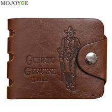 Mens Leather Bifold Wallet Card Holder Slim Coin Purse Brown Short Slim Purses Money Male Bag Clutch Change Pocket