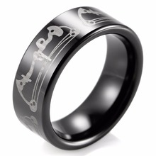 SHARDON Black 8mm Men Bow Archery Print Design Ring Engraved Flat Tungsten Ring Outdoor Wedding Band
