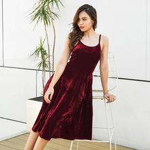 Sexy Bandage Lace Up Fashion Autumn Sleeveless Spaghetti Strap Evening Party Midi Velvet Dress WS4714V(China)