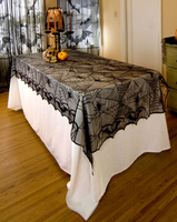1 pcs lace black spider web halloween tablecloth tablecover rectangle 240120 cm halloween decoration