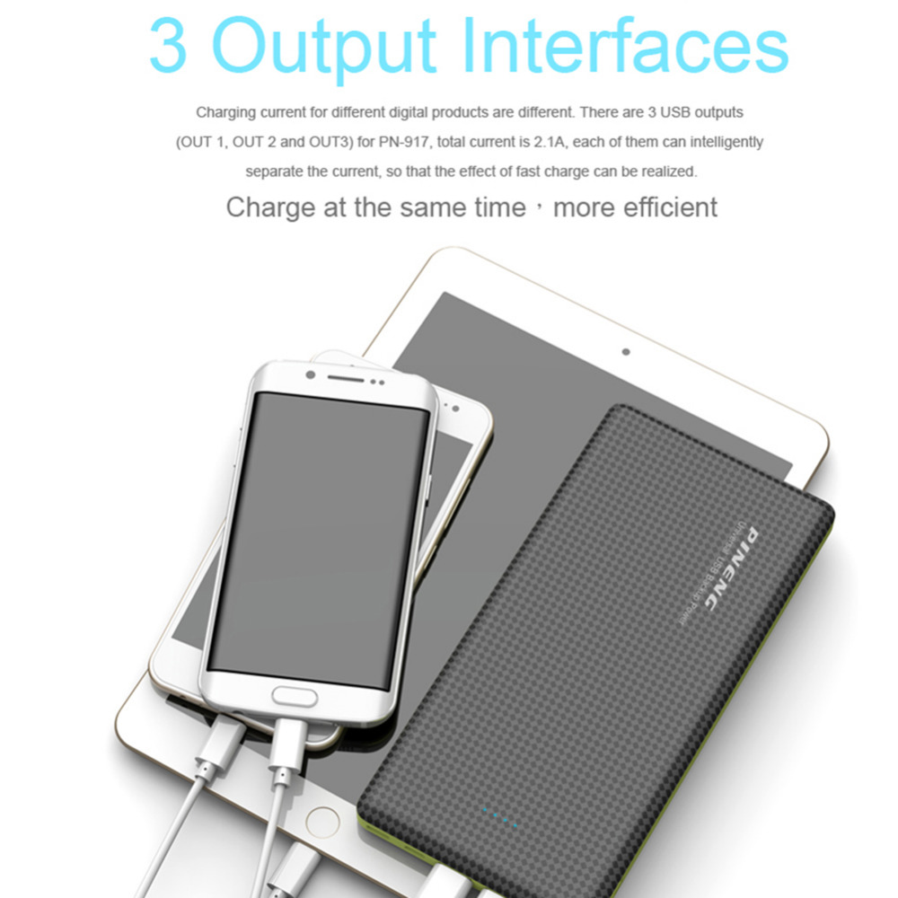 20000mah Pineng Power Bank PN-917 Portable Battery Li-Polymer Mobile Power with 3USB Output Type-C port For iPhone/Samsung